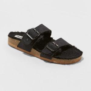 Mad Love Kali Multi Strap Sherpa Footbed Sandal